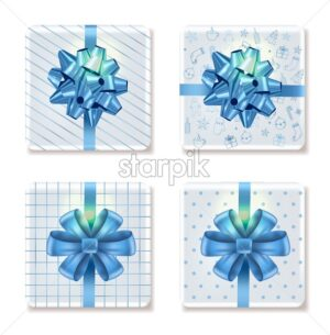 Top view on christmas white gift boxes with different ornaments. Blue ribbon. Holiday Vector - Starpik Stock
