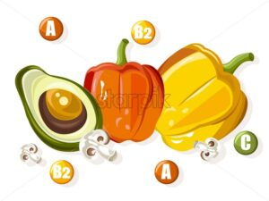 Vitamin complex with colorful peppers, half avocado and mushrooms. Health Vector - Starpik Stock