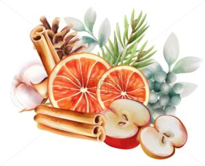 Watercolor christmas ornaments with orange slices, cinnamon sticks, half apples, green leaves, pine tree leaves and cotton. Vector - Starpik Stock