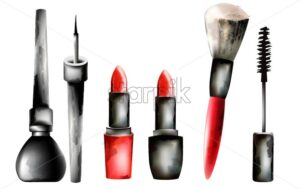 Watercolor cosmetic products in line vector. Red lipstick, brushes, mascara, eyeliner - Starpik Stock