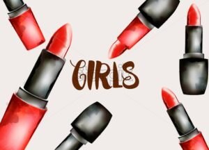 Watercolor cosmetic red lipstick with girl text. Feminist idea. Vector - Starpik Stock