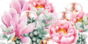Watercolor flower bouquet with green leaves, rose magnolia, cotton and peony flowers. Vector - Starpik Stock