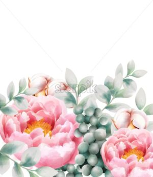 Watercolor greeting card with cotton, peony flowers, leaves and berries. Vector - Starpik Stock