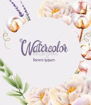 Watercolor greeting card with place for text. Peonies, cotton, lavender and green leaves. Vector composition - Starpik Stock