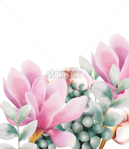 Watercolor greeting card with rose magnolia and cotton flowers. Berries and green leaves. Vector - Starpik Stock