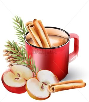 Watercolor hot chocolate drink in red cup with cinnamon sticks, conifer cone, fir tree leaves and half apple. Christmas Vector - Starpik Stock