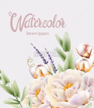 Watercolor lavender, peonies and cotton flowers bouquet vector - Starpik Stock
