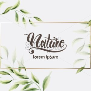 Watercolor nature green leaves vector. Square shape frame. Place for text - Starpik Stock