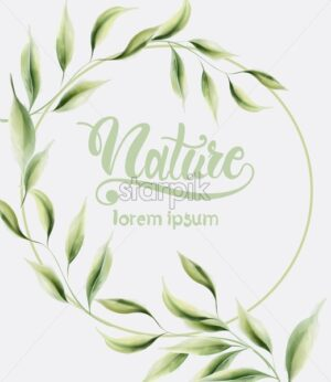 Watercolor nature green leaves wreath. Place for text. Vector composition - Starpik Stock