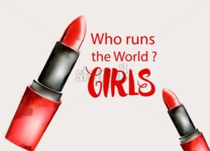 Watercolor red lipstick with who runs the world text. Feminist idea. Vector - Starpik Stock