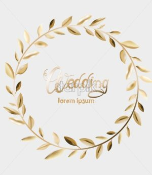 Wedding greeting card with golden leaves wreath. Vector composition - Starpik Stock