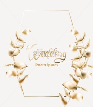 Wedding greeting card with hexagon shape frame and golden leaves. Vector composition - Starpik Stock