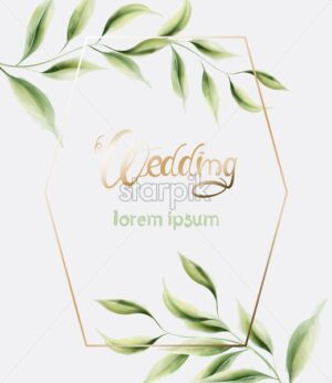 Wedding greeting card with hexagon shape frame and green leaves. Watercolor Vector composition - Starpik Stock