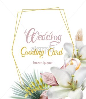 Wedding greeting card with lily flowers and palm leaves. Hexagon shape frame. Vector background - Starpik Stock