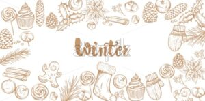 Winter decorations banner with mittens, cinnamon sticks, cotton, lollipops, stockings, gingerbread cookie and cinnamon sticks. Outline sketch style vector - Starpik Stock