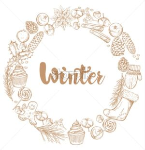 Winter decorations wreath with mittens, cinnamon sticks, cotton, lollipops, stockings, gingerbread cookie and cinnamon sticks. Outline sketch style vector - Starpik Stock