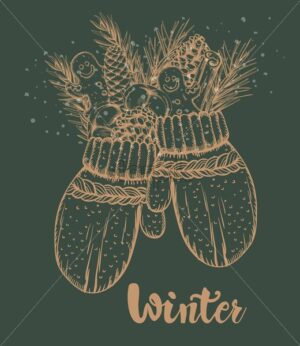 Winter mittens filled with gingerbread cookie, cinnamon sticks, conifer cone, fir tree leaves. Green background. Christmas holidays vector - Starpik Stock