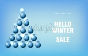 Winter sale banner with blue baubles in pyramid shape. Ribbon and colorful bokeh lights. Blue background. Christmas Vector - Starpik Stock