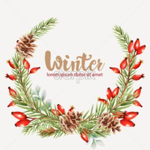 Winter wreath with red berries, pine cone and fir tree leaves. Christmas vector - Starpik Stock