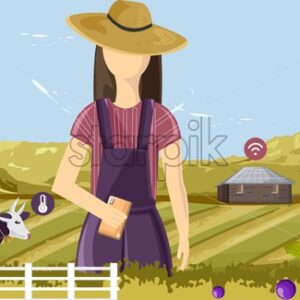 Woman controlling future farm wireless from the smart phone. Agriculture icons floating. Barn, cow and mountains on background - Starpik Stock