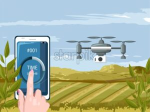 Woman hands controlling smart phone that is connected to drone camera. Checking the agriculture fields wireless. Future of technology idea - Starpik Stock