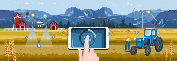 Woman hands controlling wireless farm field from smart phone tablet app. Red barn, drone watering and tractor with windmill on background. Blue mountains and sky. Agriculture vector - Starpik Stock