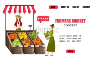 Woman selling vegetables outdoors. Tomatoes, colorful peppers, green lettuce and pumpkins. Site template. Agriculture marketplace idea vector - Starpik Stock