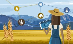 Woman with hat controlling a farm field from a tablet. Future agriculture technology icons. Mountains and blue sky on background. Vector - Starpik Stock