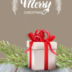 Merry christmas gift box with red ribbon and fir tree leaves. Wooden table. Holiday vector