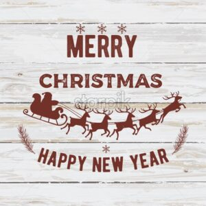 Merry christmas and happy new year composition with pine tree leaves and santa with reindeer. White wooden background. Red text. Holiday vector