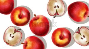 A bunch of red apples, half sliced. Vector - Starpik Stock
