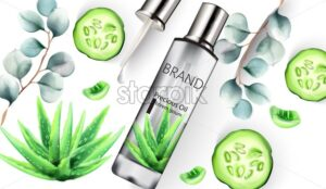 Aloe Vera silver bottle with precious oil inside. Dropper, Cucumber and leaves decorations. Vector - Starpik Stock