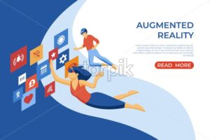 Augmented reality isometric flat icons digital vector with happy customers and engineering team - Starpik Stock