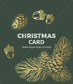 Christmas card fir branch line art style composition with ornament - Starpik Stock