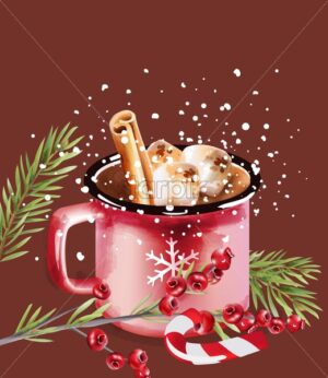 Christmas coffee cup with candy and holiday decoration - Starpik Stock
