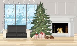 Christmas decorated interior with fir tree, gift boxes and dog sleeping. Fireplace with fire, sofa and fairy lights. Holiday vector - Starpik Stock