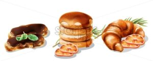 Christmas desserts set. Pancakes dripping with syrup, eclairs with chocolate glaze and croissant with orange slices. Fir tree leaves - Starpik Stock