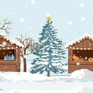 Christmas fair market stand with holiday products for sale. Gifts, stockings and bakery products. Vector - Starpik Stock