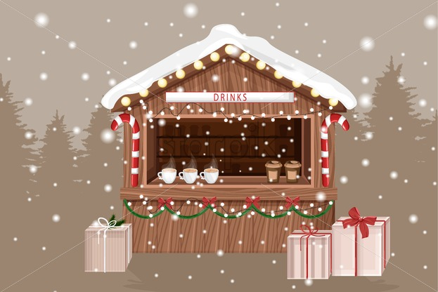 Christmas fair market stand with hot drinks for sale. Coffee in cups. Gifts decorations. Holiday Vector - Starpik Stock