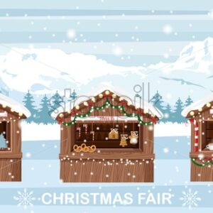 Christmas fair market stand with hot drinks, sweets and souvenirs for sale. Coffee in cups and bakery products. Gifts decorations. Holiday Vector - Starpik Stock