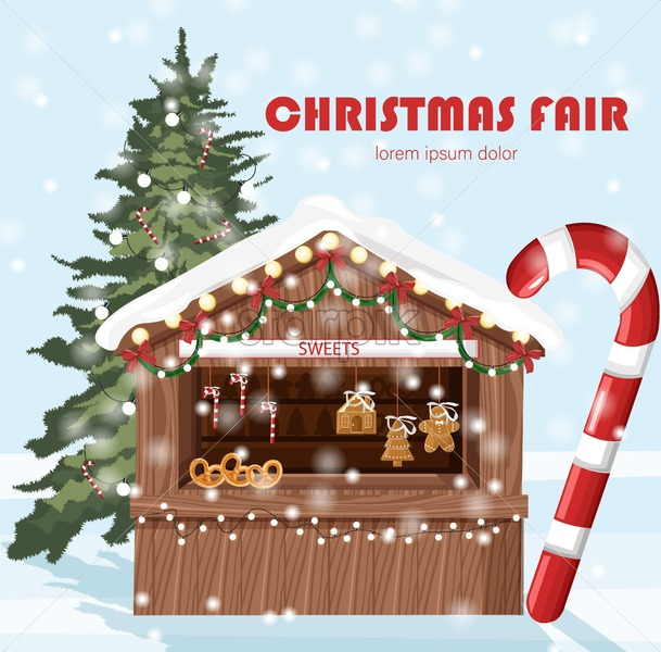 Christmas fair market stand with sweets for sale. Gifts, stockings and bakery products. Vector - Starpik Stock
