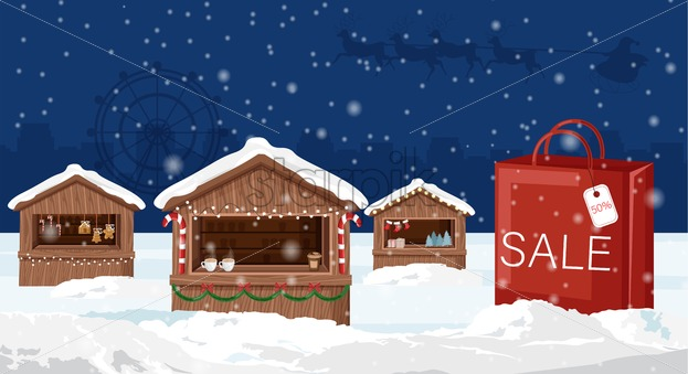 Christmas fair market with red bag. Sale banner. Blue background. Holiday vector - Starpik Stock
