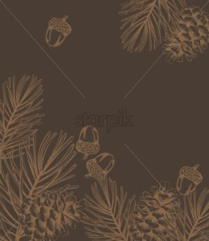 Christmas fir branch line art style composition with ornament - Starpik Stock