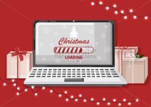 Christmas loading screen on computer. Red background with gifts and fairy lights - Starpik Stock