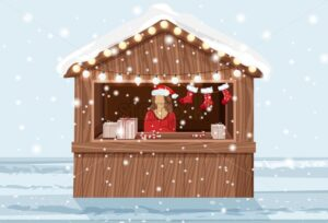 Christmas market stand with woman in hat selling holiday products. Gifts, lollipops and stockings. Vector - Starpik Stock