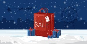 Christmas red bag with sale written. Blue gift boxes on snow. Holiday vector - Starpik Stock