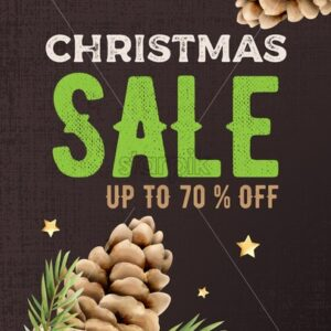 Christmas sale vertical banner with conifer cone and leaves decorations. Knitted dark background - Starpik Stock