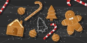 Christmas sweets composition with gingerbread cookies, lavender flowers decorations. Wooden background. Top view Holiday vector - Starpik Stock
