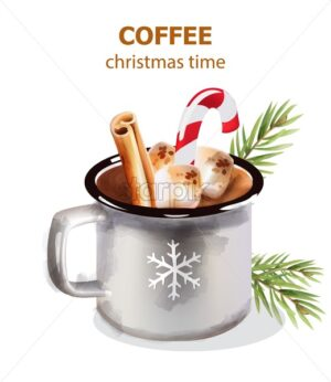 Christmas time coffee cup with marshmallows, lollipop and cinnamon sticks. Fir tree leaves decorations. Holiday beverages vector - Starpik Stock