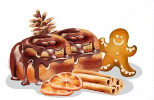 Cinnamon rolls with chocolate glaze and winter ornaments. Gingerbread cookie, cinnamon sticks, orange slices, conifer cone. Winter food Vector - Starpik Stock